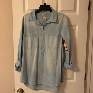 Jean half button shirt